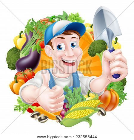 Vegetable Gardener Cartoon Character In A Cap And Blue Dungarees Holding A Garden Hand Spade Trowel