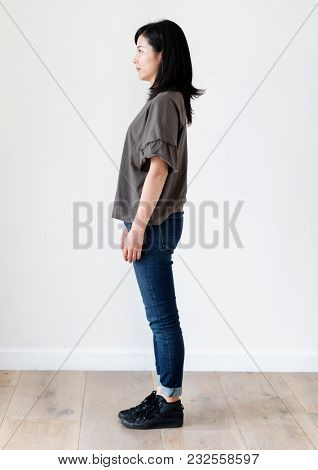 Asian ethnicity woman portrait shoot in a studio