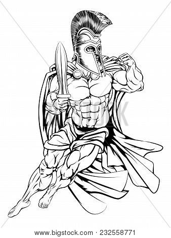 An Illustration Of A Muscular Strong Trojan Or Spartan