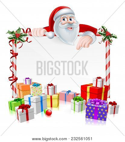 Santa Christmas Sign With Cartoon Santa Peeking Over A Sign With Gifts And Christmas Holly