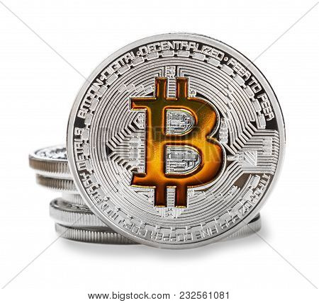 Bitcoin Coins Isolated On A White Background. Bitcoin Is The Most Popular Cryptocurrency In The Worl