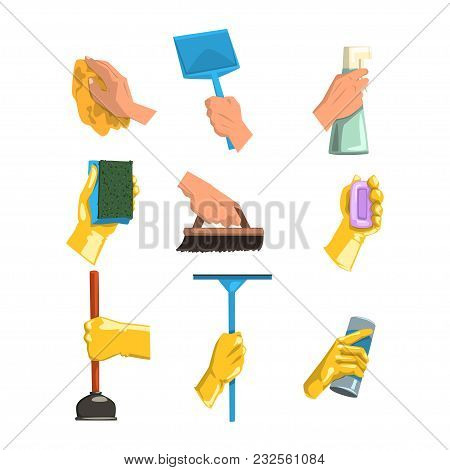 Vector Collection Of Cleaning Supplies. Human Hands Holding Rag, Plastic Scoop, Bottles With Liquid