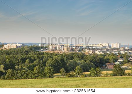 Block Of Flats Situated In Green Nature. Suburb Of City Of Brno, Czech Republic. Rapidly Growing Hou