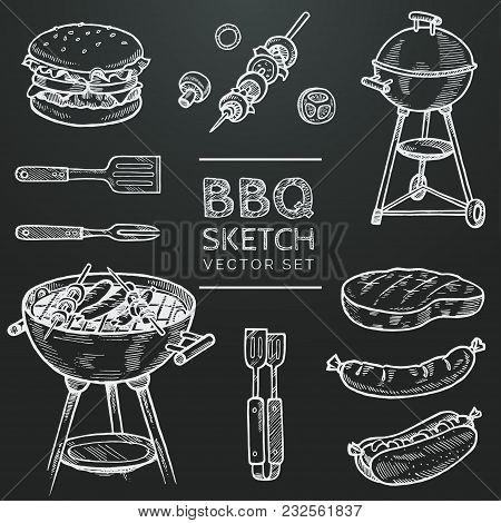 Barbecue Vector Chalk Sketch Set. Hand Drawn Grill, Hamburger, Skewer, Hot Dog, Steak, Sausage. Set