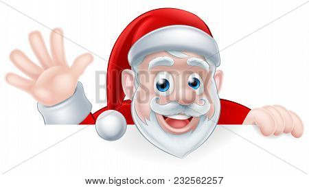 An Illustration Of A Cartoon Santa Claus Waving While Peeking Over A Sign
