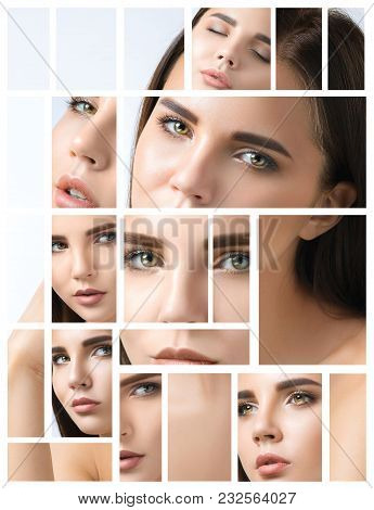 Collage Of A Beautiful Woman Face With Perfect Clean Skin. The One Young Caucasian Model On White St