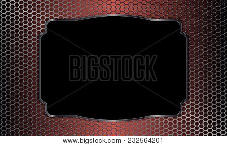Geometric Background With Metal Grille And Rectangular Black Frame.