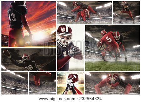 The Collage About American Football Players. The Football Player In Motion On The Field Of Stadium W