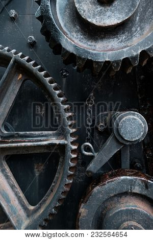 Old Rusty Tools Detail. Metal Construction Of Industrial Object