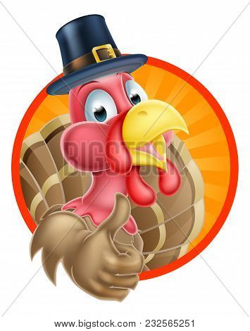 Cartoon Thanksgiving Turkey Giving A Thumbs Up And Wearing A Pilgrim Or Puritan Hat