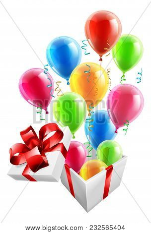 Gift Box With Party Ballons And Streamers, Concept For An Exciting Birthday, Christmas Or Other Gift