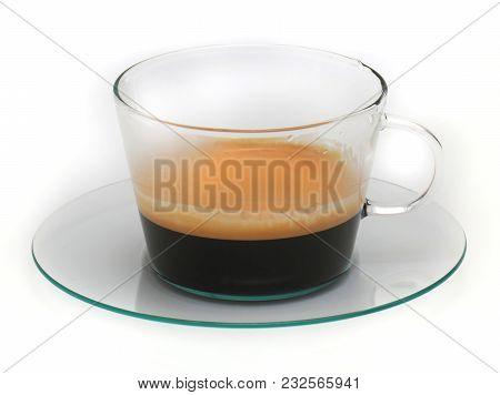 Hot Espresso Coffee Emitting Smoke Mist From The Heat Inside Glass Cup