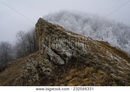 The Emula-kaya Mountain Ridge Covered By Hoarfrost In The Eastern Crimea