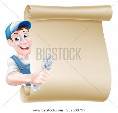 Cartoon Plumber Or Auto Repair Mechanic Service Handyman Worker Man Holding A Spanner Scroll Sign