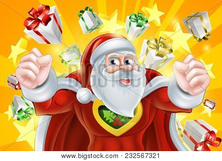 Cartoon Santa Claus Christmas Superhero Character With Gifts And Stars Explosion In The Background