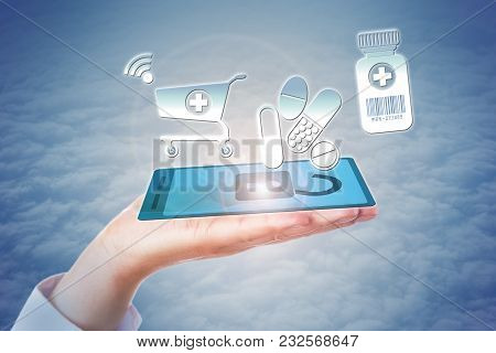 White Collar Worker Hand Holding Virtual Cell Phone In Open Palm Enacting A Secure E-shopping Transa