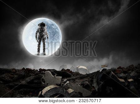 Astronaut standing outdoor. Mixed media