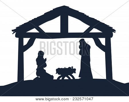Traditional Christian Christmas Nativity Scene Of Baby Jesus In The Manger With Mary And Joseph In S