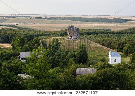 View To Devil's Rock In Pidkamin, Lviv Region, West Ukraine (summer Landscape)