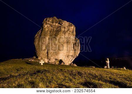 Night View To Devil's Rock In Pidkamin, Lviv Region, West Ukraine (summer Landscape)