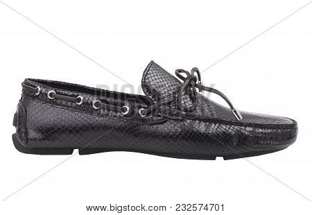 Black Leather Shoes -  White Background. Black Leather Mens Shoes Isolated