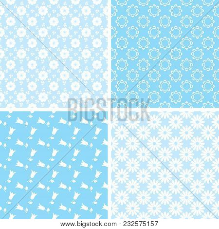 Vector Set Of Seamless Floral Patterns For Scrapbooking In Blue And White Colors.