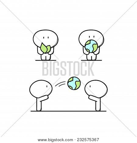 Funny Cute Man And Green Plant Or Sprout With Leaves, Planet Earth Or Globe In The Hands. Environmen