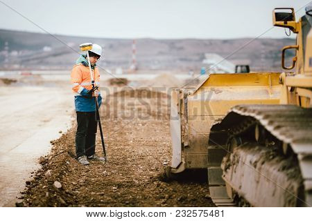 Geodesy Details - Construction Site Workers Building Highway And Roads. Surveying Engineer Details