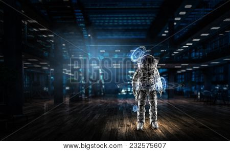 Spaceman ready for mission. Mixed media