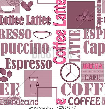 Lettering Coffee And Icons Seamless Pattern Illustration Retro Background