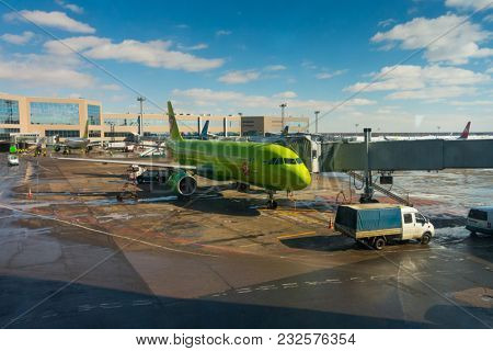 Moscow, Russia - March 16, 2018: Domodedovo airport landscape at sunny day time