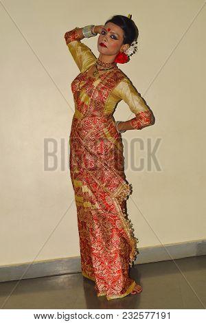 Indian girl In traditional Assamese Bihu attire at Pune, Maharashtra poster