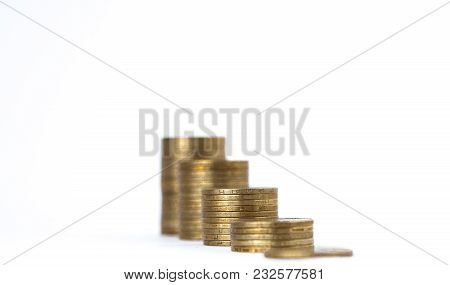 Growing Coins Stacks On White Background. Financial Growth, Saving Money, Business Finance Wealth An