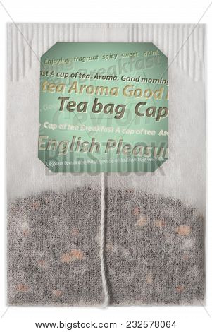 Teabag Of Close-up On A White Isolated Background And Ready Free Space Copyspace On The Label.
