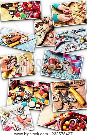 Collage With Elements For Needlework