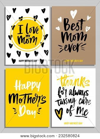Happy Mother's Day Card Set In Trendy Colors With Lettering. I Love My Mom. Best Mom Ever. Happy Mot
