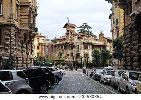 Rome, Italy - December 30, 2017: Fay Castle In Art Nouveau Style In The Coppede Quarter