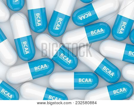 3d Render Of Bcaa Pills Lying On White Table. Sports Nutrition Concept.