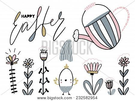 Card With Calligraphylettering Happy Easter With Nestling, Flowers And Watering Can. Vector Illustra
