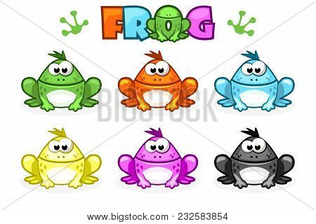 Cartoon Frogs. Different Colored Toads. Set Vector Animals