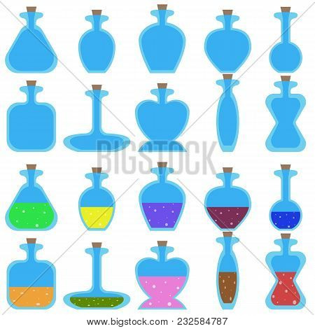 Set Of Cartoon Empty And With Potions Bottles Of Different Shape For A Game. Vector Illustration Iso