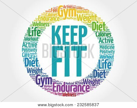 Keep Fit Circle Word Cloud, Health Concept