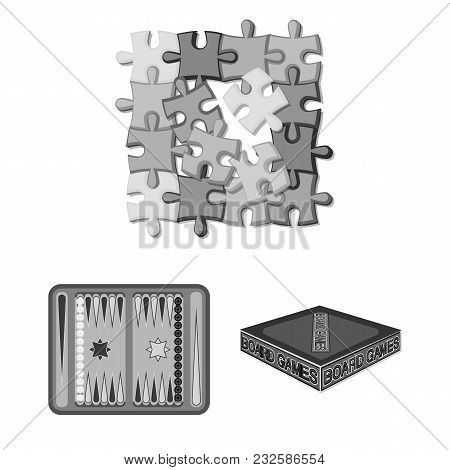 Board Game Monochrome Icons In Set Collection For Design. Game And Entertainment Vector Symbol Stock