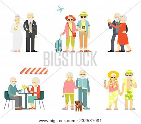Old People In Different Poses, Gestures, Actions And Situations. Healthy And Active Lifestyle For El