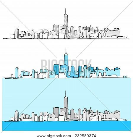 Three Versions Of New York City Skyline. Vector Drawing Art Concept For Travel Marketing