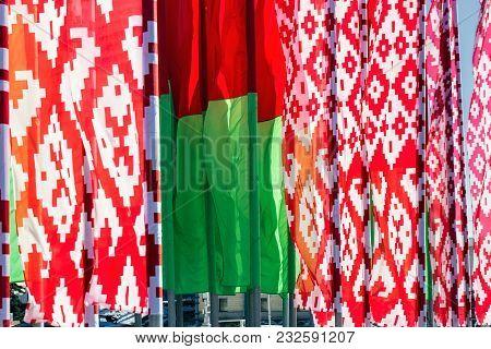 Flag Of Belarus Against The Background Of The Sky,  Minsk.