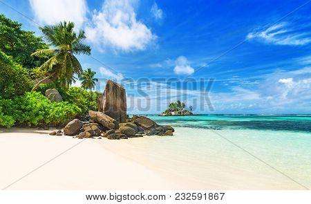 Seychelles, Tropical Beach Anse Royale, Most Popular Beach On Island Mahe. Paradise Background With