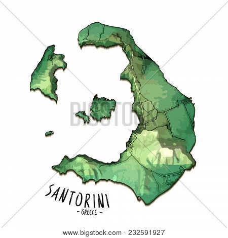 3d Island Map Of Santorini, Greece. Detailed Vector Illustration. Isolated Concept For Infographic A
