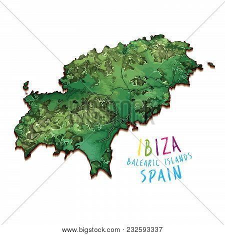3d Island Map Of Ibiza. Detailed Vector Illustration. Isolated Concept For Infographic And Marketing