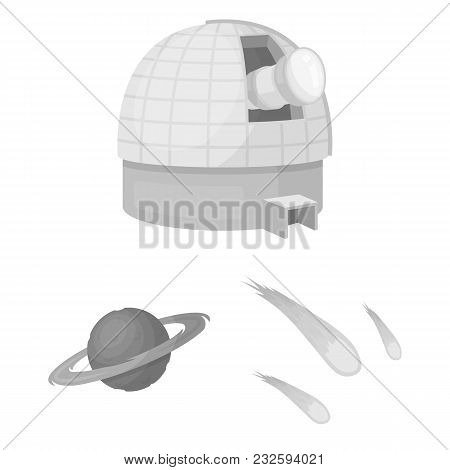 Space Technology Monochrome Icons In Set Collection For Design.spacecraft And Equipment Vector Symbo